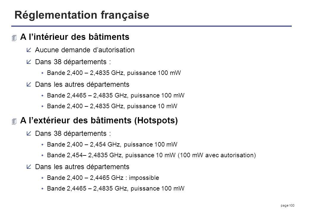 page 100 Réglementation française 4 A lintérieur des bâtiments åAucune demande dautorisation åDans 38 départements : Bande 2,400 – 2,4835 GHz, puissan