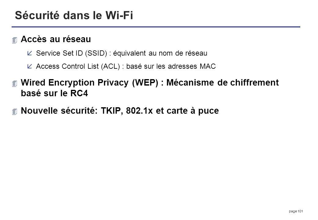 page 101 Sécurité dans le Wi-Fi 4 Accès au réseau åService Set ID (SSID) : équivalent au nom de réseau åAccess Control List (ACL) : basé sur les adres