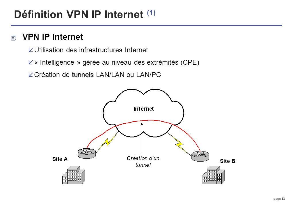 page 13 Définition VPN IP Internet (1) 4 VPN IP Internet åUtilisation des infrastructures Internet å« Intelligence » gérée au niveau des extrémités (C