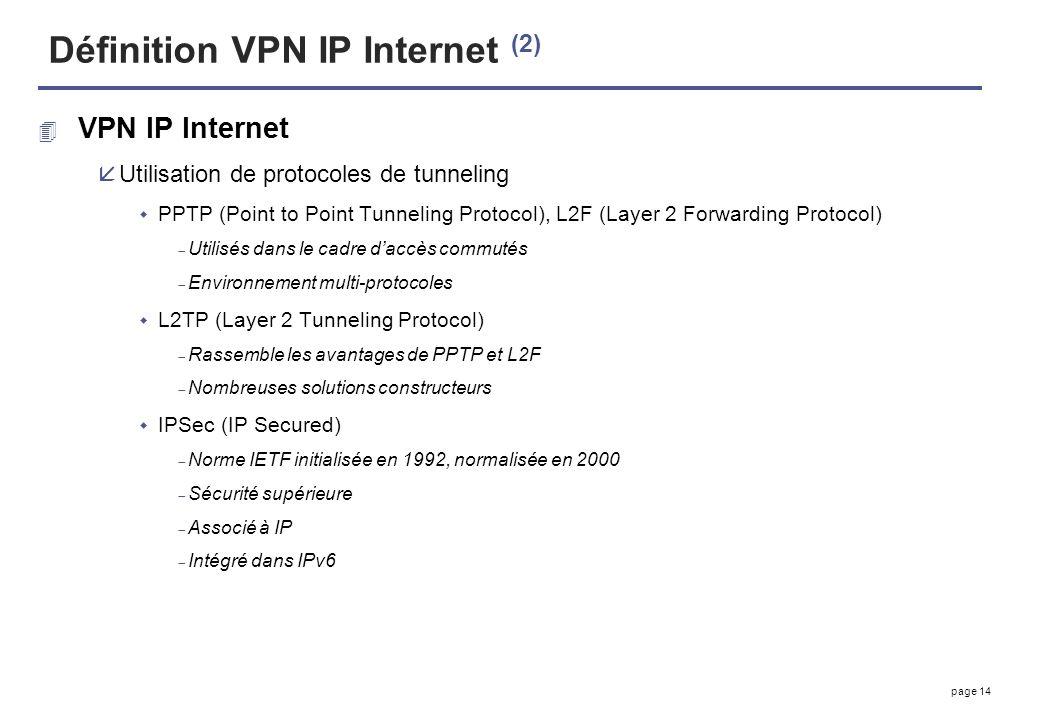 page 14 Définition VPN IP Internet (2) 4 VPN IP Internet åUtilisation de protocoles de tunneling PPTP (Point to Point Tunneling Protocol), L2F (Layer