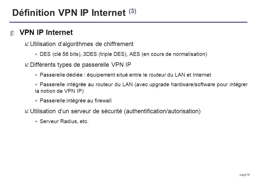 page 15 Définition VPN IP Internet (3) 4 VPN IP Internet åUtilisation dalgorithmes de chiffrement DES (clé 56 bits), 3DES (triple DES), AES (en cours