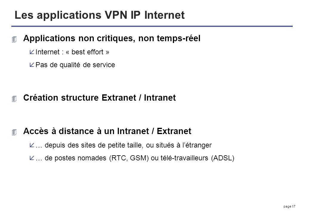 page 17 Les applications VPN IP Internet 4 Applications non critiques, non temps-réel åInternet : « best effort » åPas de qualité de service 4 Créatio