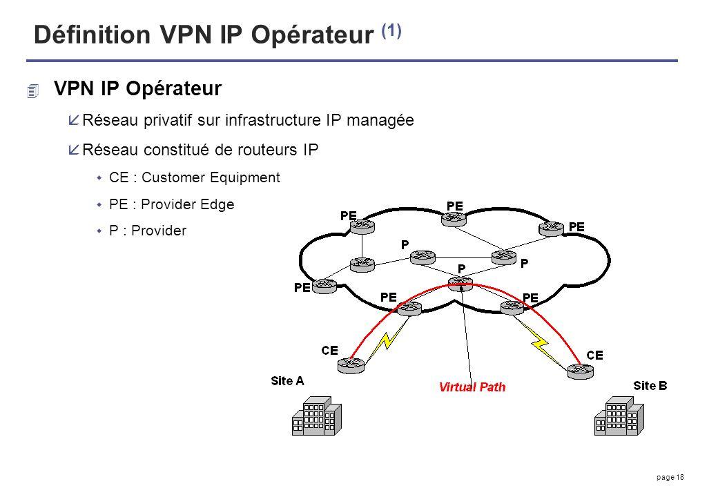 page 18 Définition VPN IP Opérateur (1) 4 VPN IP Opérateur åRéseau privatif sur infrastructure IP managée åRéseau constitué de routeurs IP CE : Custom
