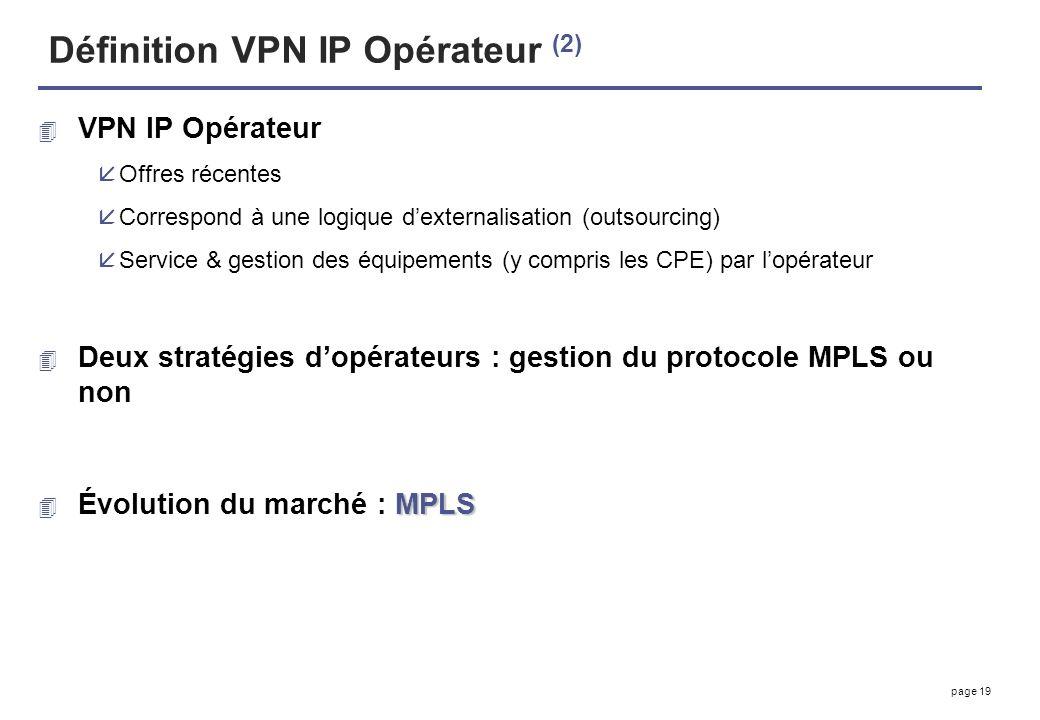 page 19 Définition VPN IP Opérateur (2) 4 VPN IP Opérateur åOffres récentes åCorrespond à une logique dexternalisation (outsourcing) åService & gestio