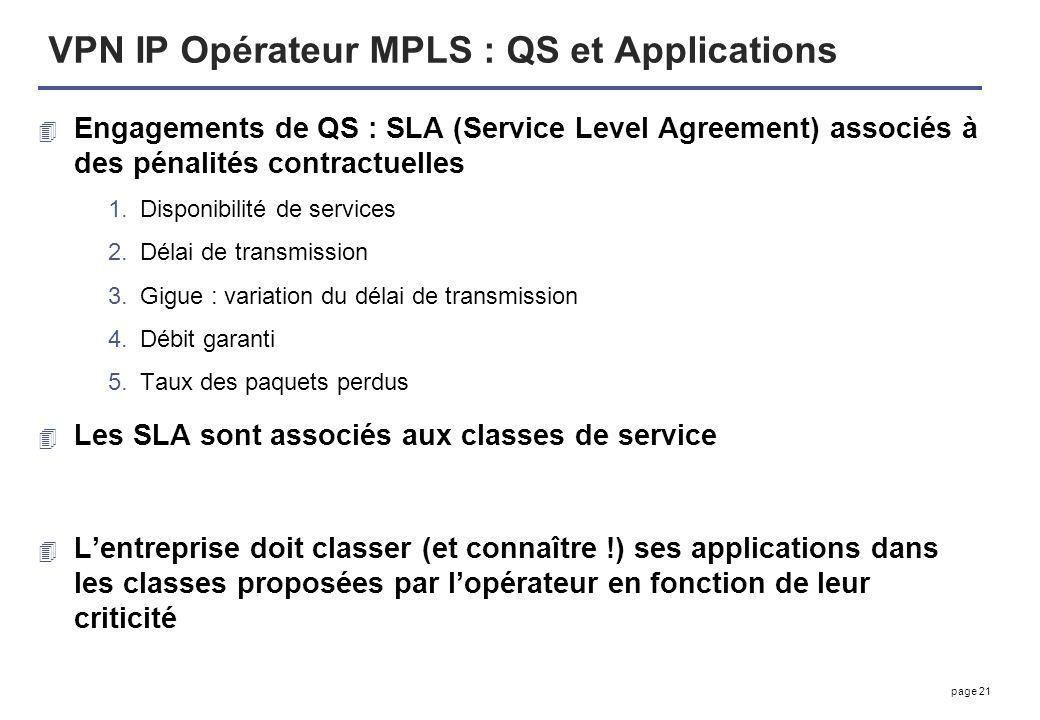 page 21 VPN IP Opérateur MPLS : QS et Applications 4 Engagements de QS : SLA (Service Level Agreement) associés à des pénalités contractuelles 1.Dispo
