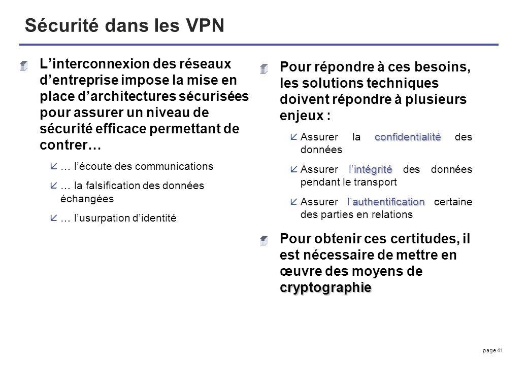 page 41 Sécurité dans les VPN 4 Linterconnexion des réseaux dentreprise impose la mise en place darchitectures sécurisées pour assurer un niveau de sé