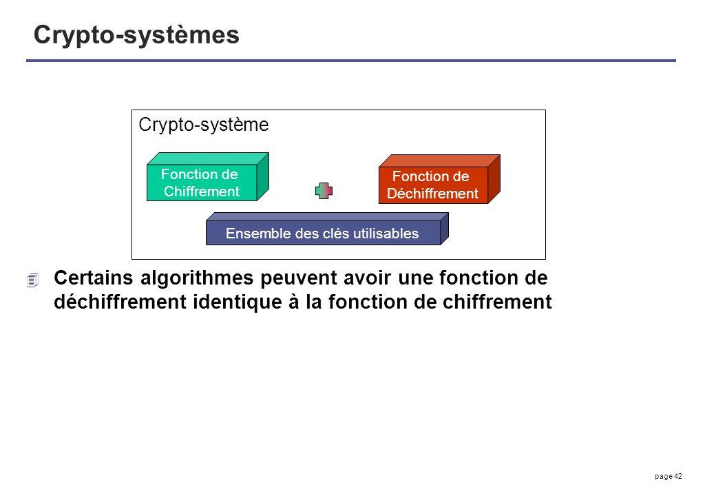 page 42 Crypto-systèmes 4 Certains algorithmes peuvent avoir une fonction de déchiffrement identique à la fonction de chiffrement Fonction de Chiffrem