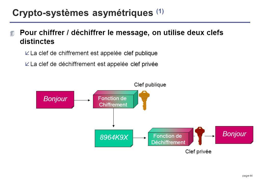 page 44 Crypto-systèmes asymétriques (1) 4 Pour chiffrer / déchiffrer le message, on utilise deux clefs distinctes clef publique åLa clef de chiffreme