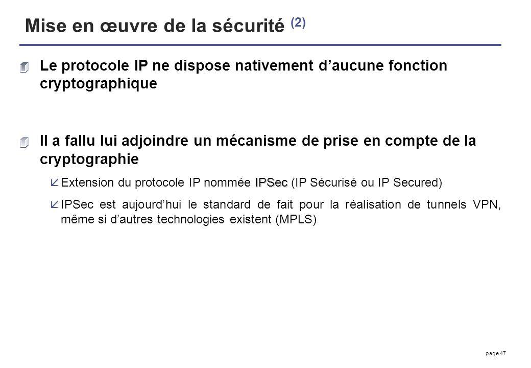 page 47 Mise en œuvre de la sécurité (2) 4 Le protocole IP ne dispose nativement daucune fonction cryptographique 4 Il a fallu lui adjoindre un mécani
