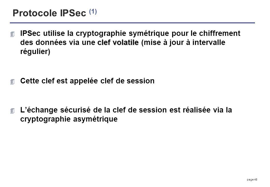 page 48 Protocole IPSec (1) clef volatile 4 IPSec utilise la cryptographie symétrique pour le chiffrement des données via une clef volatile (mise à jo