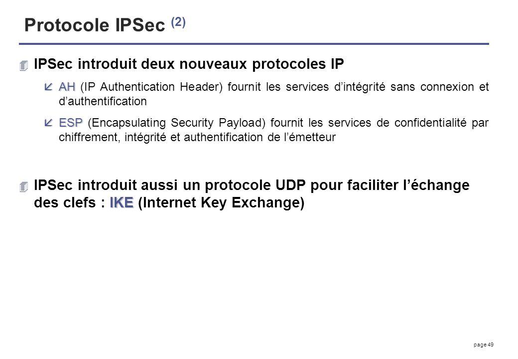 page 49 Protocole IPSec (2) 4 IPSec introduit deux nouveaux protocoles IP åAH åAH (IP Authentication Header) fournit les services dintégrité sans conn