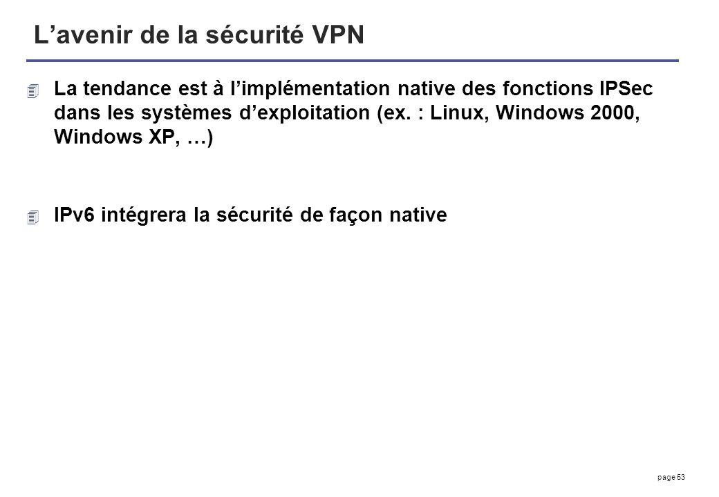page 53 Lavenir de la sécurité VPN 4 La tendance est à limplémentation native des fonctions IPSec dans les systèmes dexploitation (ex. : Linux, Window