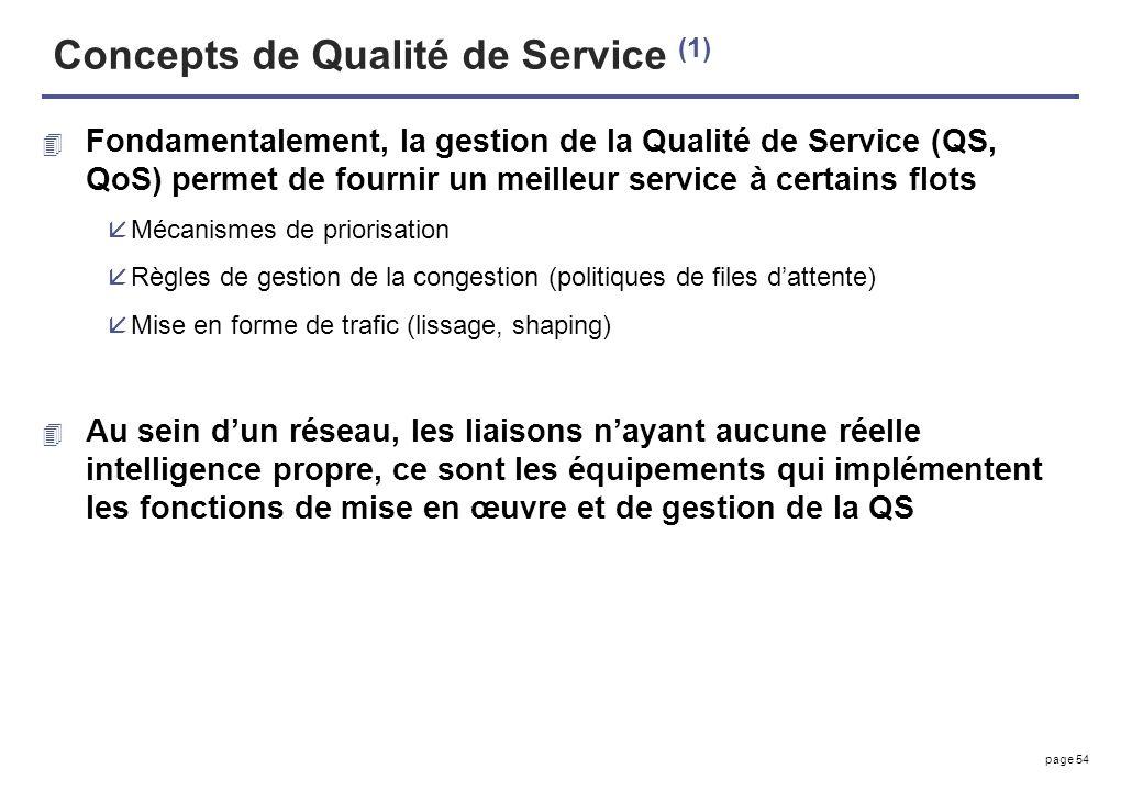 page 54 Concepts de Qualité de Service (1) 4 Fondamentalement, la gestion de la Qualité de Service (QS, QoS) permet de fournir un meilleur service à c