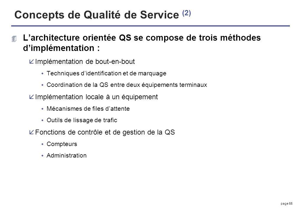 page 55 Concepts de Qualité de Service (2) 4 Larchitecture orientée QS se compose de trois méthodes dimplémentation : åImplémentation de bout-en-bout