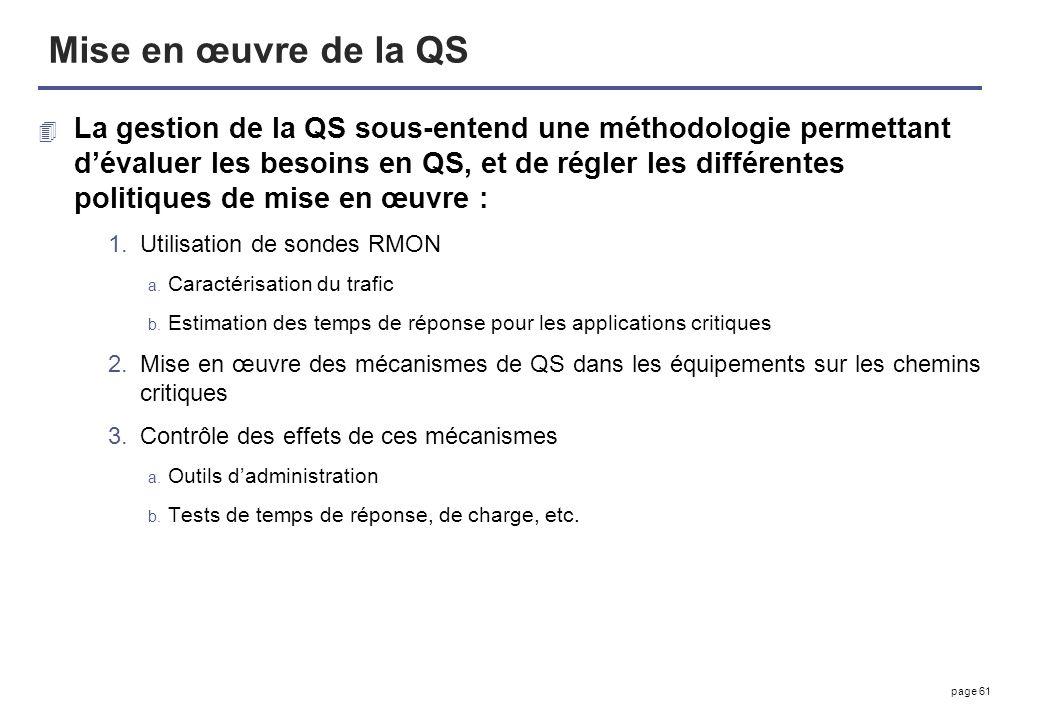 page 61 Mise en œuvre de la QS 4 La gestion de la QS sous-entend une méthodologie permettant dévaluer les besoins en QS, et de régler les différentes