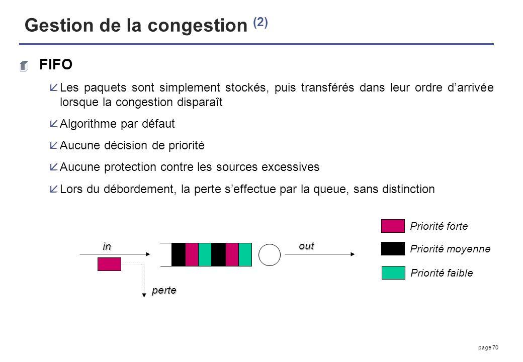 page 70 Gestion de la congestion (2) 4 FIFO åLes paquets sont simplement stockés, puis transférés dans leur ordre darrivée lorsque la congestion dispa