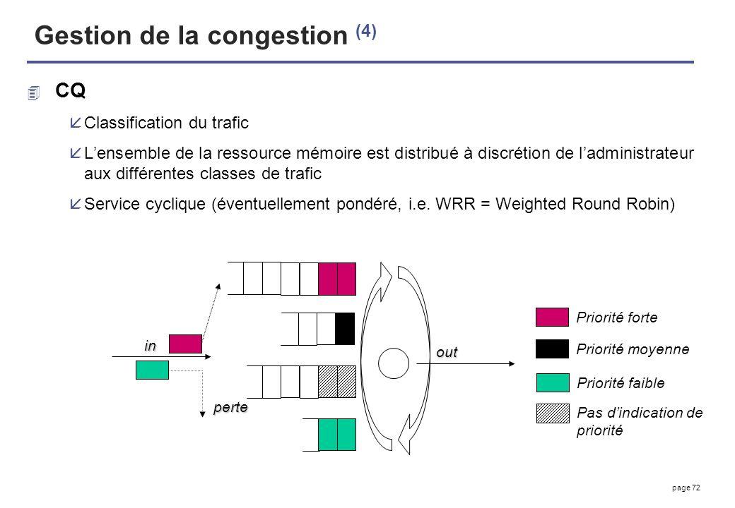 page 72 Gestion de la congestion (4) 4 CQ åClassification du trafic åLensemble de la ressource mémoire est distribué à discrétion de ladministrateur a