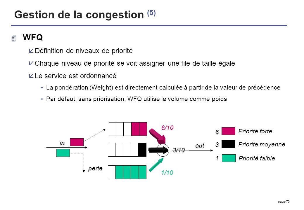 page 73 Gestion de la congestion (5) 4 WFQ åDéfinition de niveaux de priorité åChaque niveau de priorité se voit assigner une file de taille égale åLe