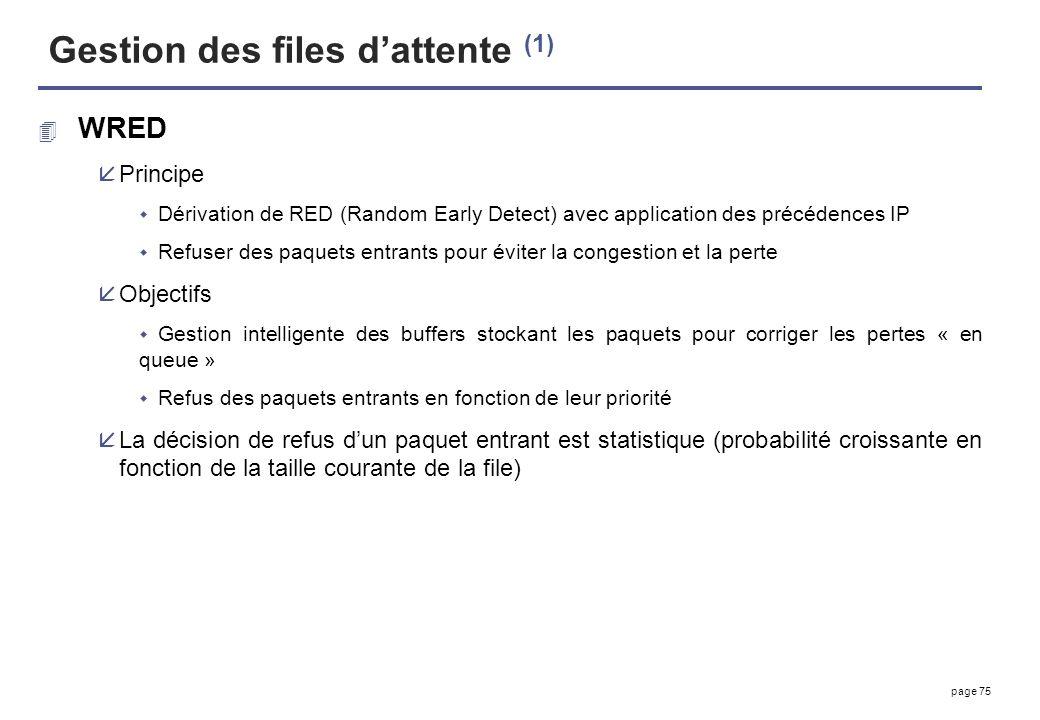 page 75 Gestion des files dattente (1) 4 WRED åPrincipe Dérivation de RED (Random Early Detect) avec application des précédences IP Refuser des paquet