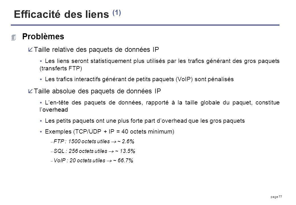 page 77 Efficacité des liens (1) 4 Problèmes åTaille relative des paquets de données IP Les liens seront statistiquement plus utilisés par les trafics