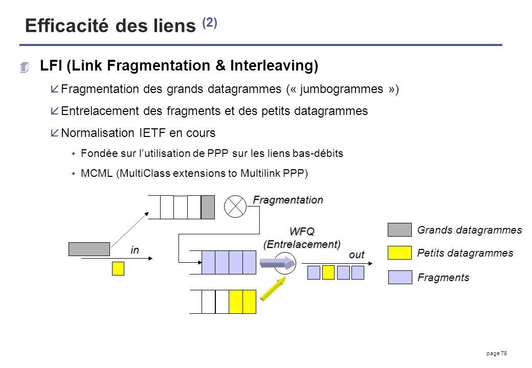 page 78 Efficacité des liens (2) 4 LFI (Link Fragmentation & Interleaving) åFragmentation des grands datagrammes (« jumbogrammes ») åEntrelacement des