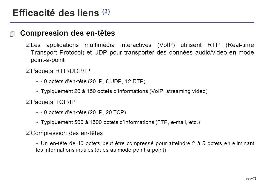 page 79 Efficacité des liens (3) 4 Compression des en-têtes åLes applications multimédia interactives (VoIP) utilisent RTP (Real-time Transport Protoc