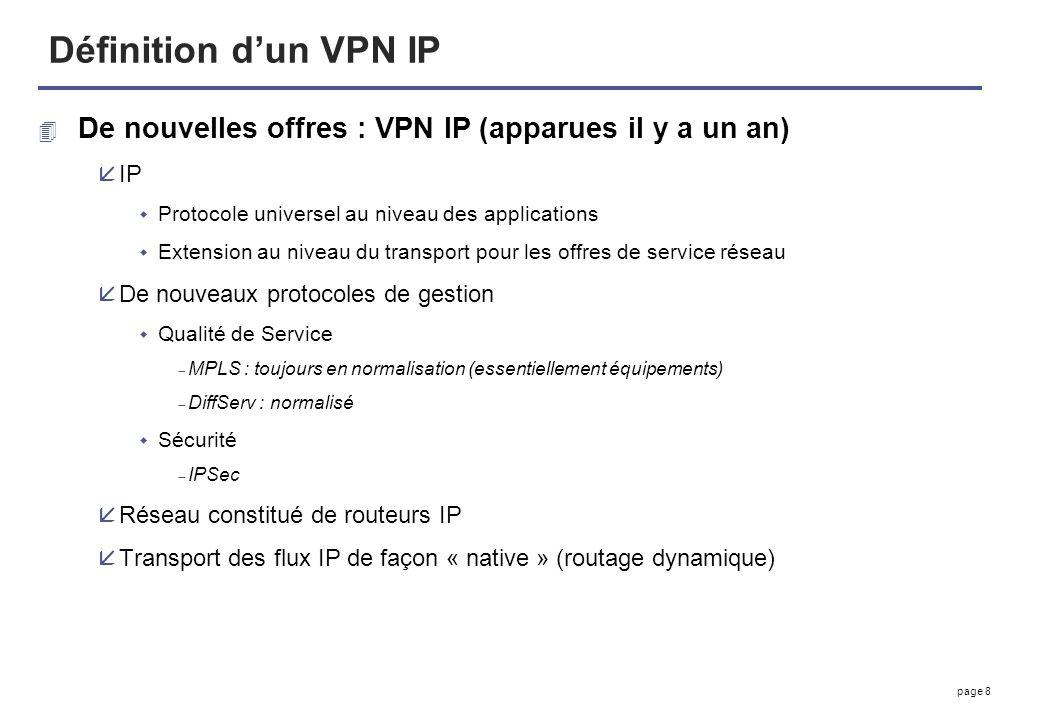 page 8 Définition dun VPN IP 4 De nouvelles offres : VPN IP (apparues il y a un an) åIP Protocole universel au niveau des applications Extension au ni