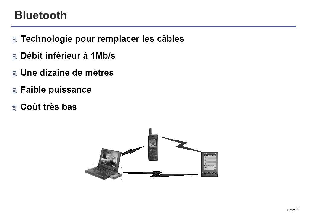 page 88 Bluetooth 4 Technologie pour remplacer les câbles 4 Débit inférieur à 1Mb/s 4 Une dizaine de mètres 4 Faible puissance 4 Coût très bas
