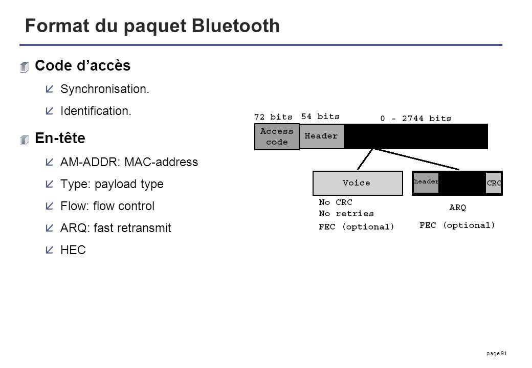 page 91 Format du paquet Bluetooth 4 Code daccès åSynchronisation. åIdentification. 4 En-tête åAM-ADDR: MAC-address åType: payload type åFlow: flow co