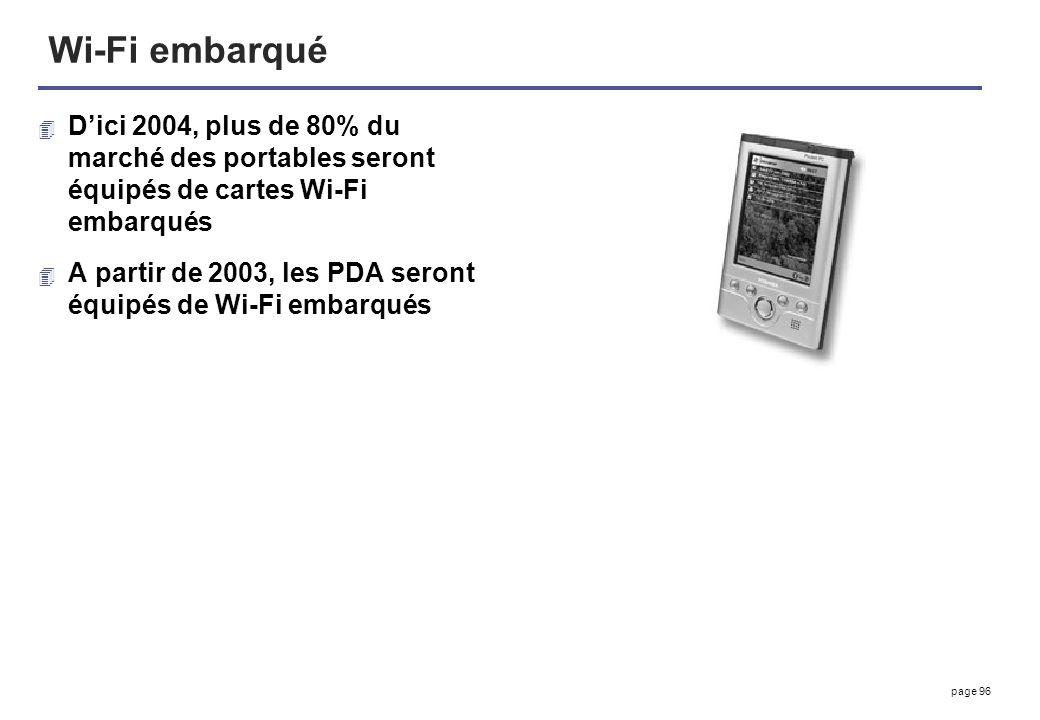 page 96 Wi-Fi embarqué 4 Dici 2004, plus de 80% du marché des portables seront équipés de cartes Wi-Fi embarqués 4 A partir de 2003, les PDA seront éq