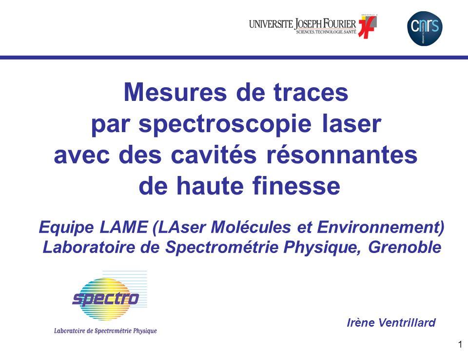 2 Des cavités résonnantes pour la spectroscopie … Ex : L =1m, R=99.99% => L eff =10 000 m > 1000 .