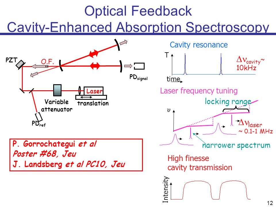 12 Optical Feedback Cavity-Enhanced Absorption Spectroscopy PD signal PZT Laser translation Variable attenuator PD ref O.F. P. Gorrochategui et al Pos