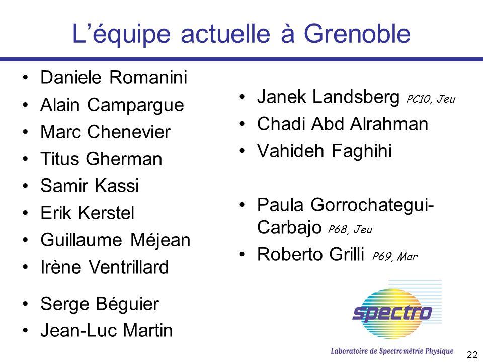 22 Léquipe actuelle à Grenoble Janek Landsberg PC10, Jeu Chadi Abd Alrahman Vahideh Faghihi Paula Gorrochategui- Carbajo P68, Jeu Roberto Grilli P69,