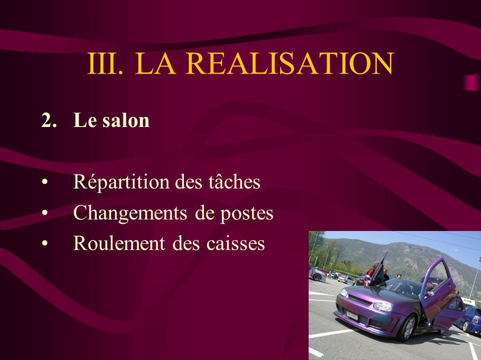 III. LA REALISATION 2.Le salon Répartition des tâches Changements de postes Roulement des caisses