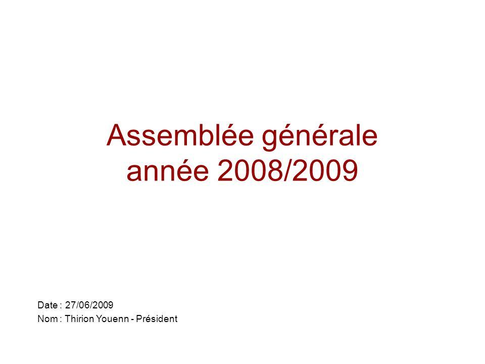 Assemblée générale année 2008/2009 Date : 27/06/2009 Nom : Thirion Youenn - Président