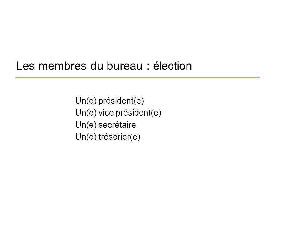 Les membres du bureau : élection Un(e) président(e) Un(e) vice président(e) Un(e) secrétaire Un(e) trésorier(e)