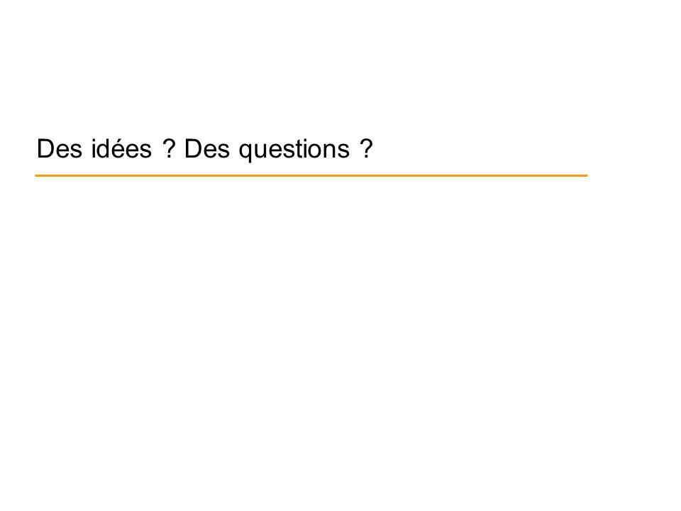 Des idées Des questions
