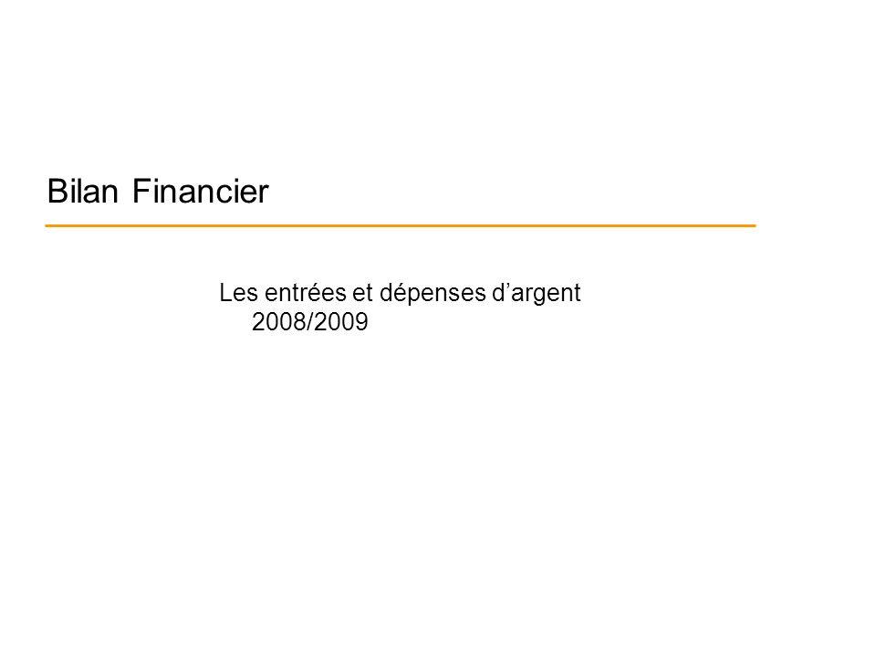 Bilan Financier Les entrées et dépenses dargent 2008/2009