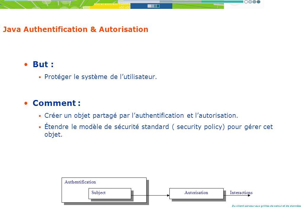 Du client serveur aux grilles de calcul et de données Java Authentification & Autorisation But : Protéger le système de lutilisateur.