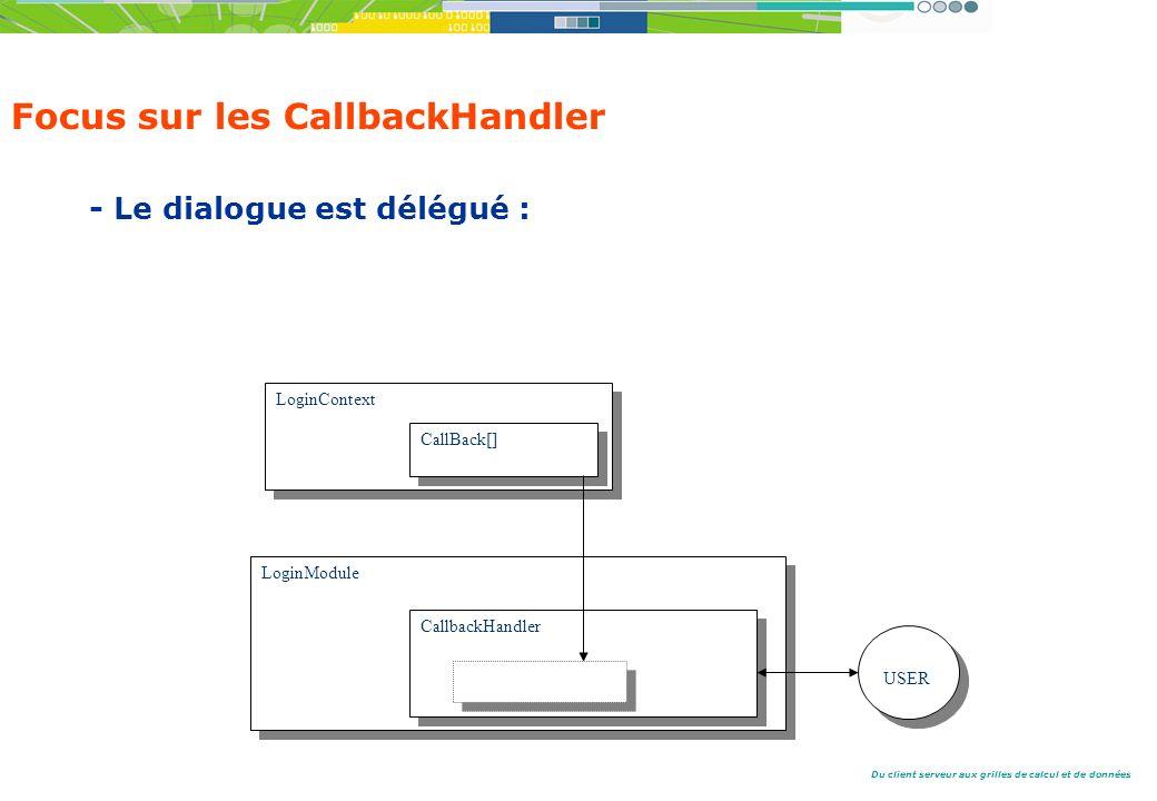 Du client serveur aux grilles de calcul et de données Focus sur les CallbackHandler - Le dialogue est délégué : LoginContext LoginModule CallbackHandler USER CallBack[]