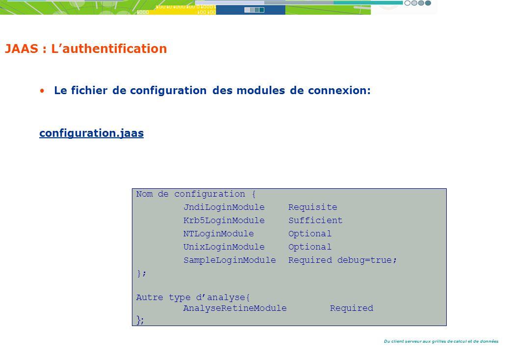 Du client serveur aux grilles de calcul et de données JAAS : Lauthentification Le fichier de configuration des modules de connexion: configuration.jaas Nom de configuration { JndiLoginModule Requisite Krb5LoginModule Sufficient NTLoginModule Optional UnixLoginModule Optional SampleLoginModule Required debug=true; }; Autre type danalyse{ AnalyseRetineModule Required };