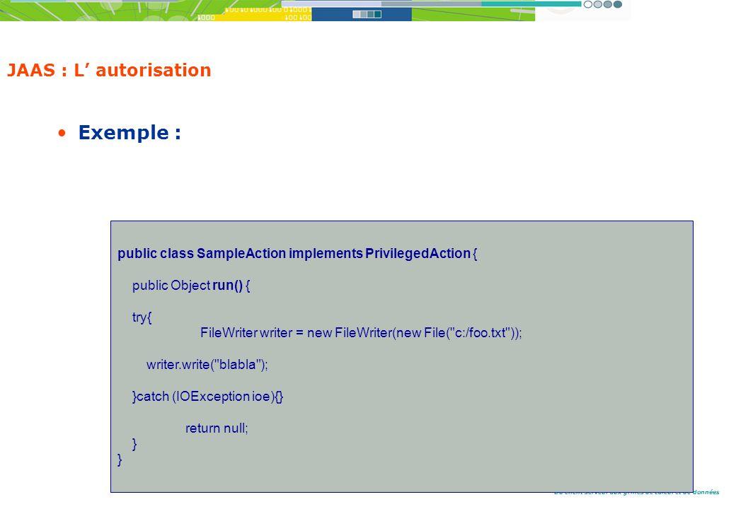 Du client serveur aux grilles de calcul et de données JAAS : L autorisation Exemple : public class SampleAction implements PrivilegedAction { public Object run() { try{ FileWriter writer = new FileWriter(new File( c:/foo.txt )); writer.write( blabla ); }catch (IOException ioe){} return null; }