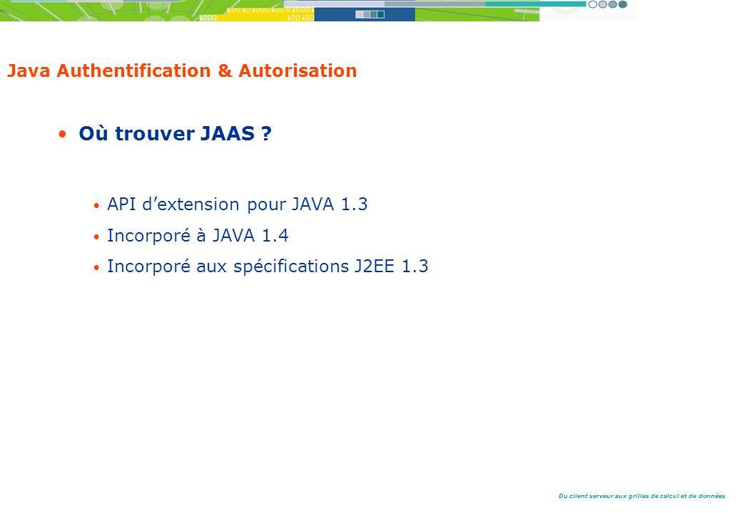 Du client serveur aux grilles de calcul et de données Java Authentification & Autorisation Où trouver JAAS .