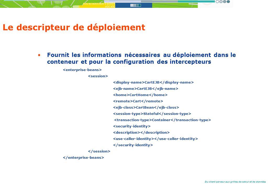 Du client serveur aux grilles de calcul et de données Le descripteur de déploiement Fournit les informations nécessaires au déploiement dans le conteneur et pour la configuration des intercepteurs CartEJB CartHome Cart CartBean Stateful Container