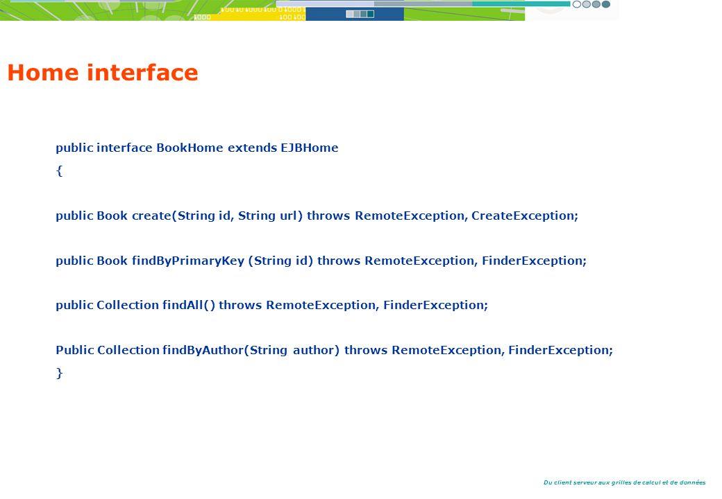 Du client serveur aux grilles de calcul et de données Home interface public interface BookHome extends EJBHome { public Book create(String id, String url) throws RemoteException, CreateException; public Book findByPrimaryKey (String id) throws RemoteException, FinderException; public Collection findAll() throws RemoteException, FinderException; Public Collection findByAuthor(String author) throws RemoteException, FinderException; }