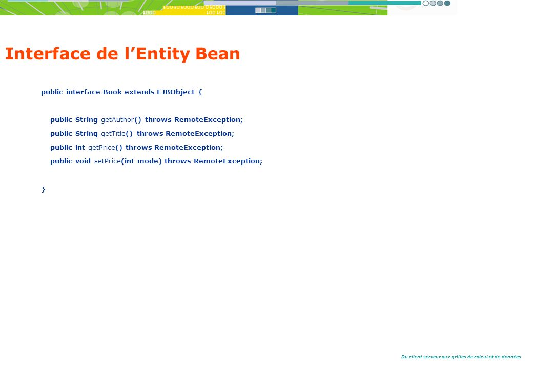 Du client serveur aux grilles de calcul et de données Interface de lEntity Bean public interface Book extends EJBObject { public String getAuthor() th