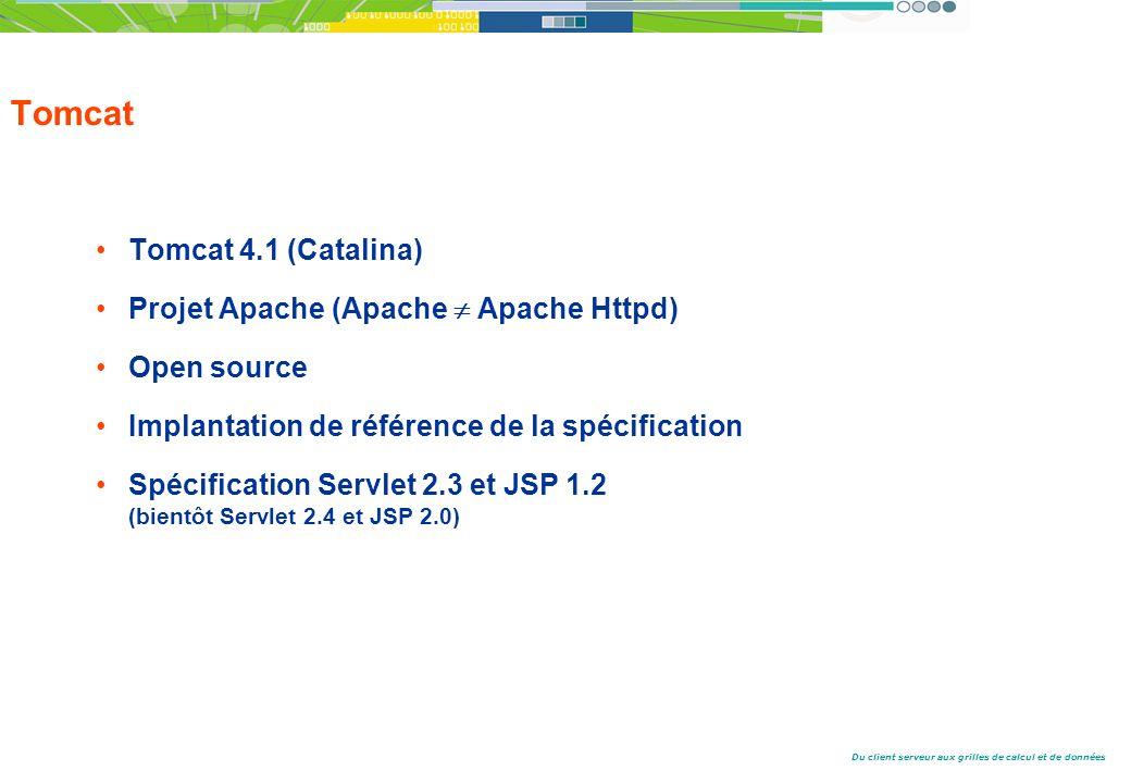 Du client serveur aux grilles de calcul et de données Tomcat Tomcat 4.1 (Catalina) Projet Apache (Apache Apache Httpd) Open source Implantation de référence de la spécification Spécification Servlet 2.3 et JSP 1.2 (bientôt Servlet 2.4 et JSP 2.0)