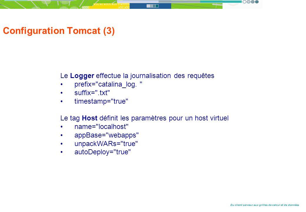 Du client serveur aux grilles de calcul et de données Configuration Tomcat (3) Le Logger effectue la journalisation des requêtes prefix= catalina_log.