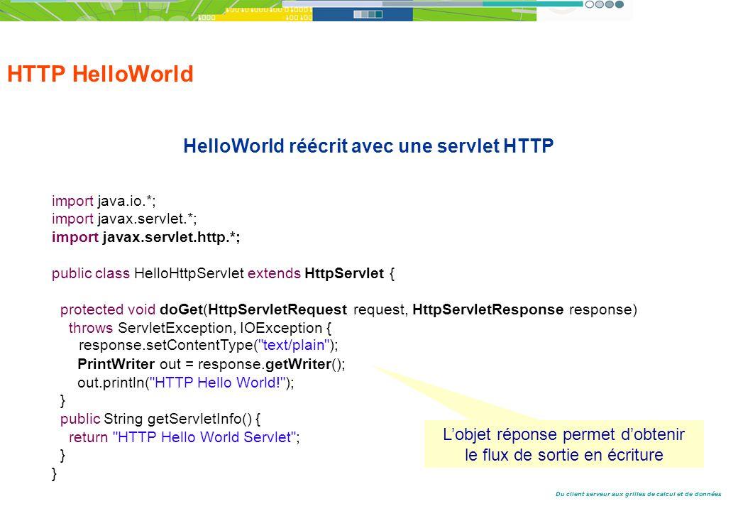Du client serveur aux grilles de calcul et de données HTTP HelloWorld HelloWorld réécrit avec une servlet HTTP import java.io.*; import javax.servlet.*; import javax.servlet.http.*; public class HelloHttpServlet extends HttpServlet { protected void doGet(HttpServletRequest request, HttpServletResponse response) throws ServletException, IOException { response.setContentType( text/plain ); PrintWriter out = response.getWriter(); out.println( HTTP Hello World! ); } public String getServletInfo() { return HTTP Hello World Servlet ; } Lobjet réponse permet dobtenir le flux de sortie en écriture