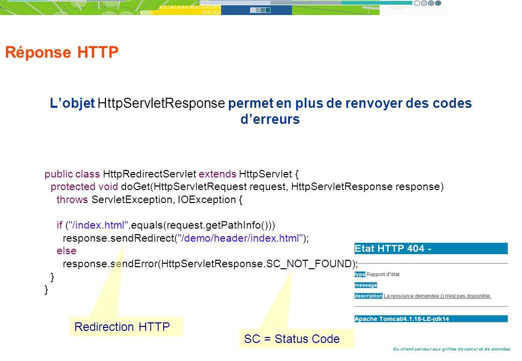 Du client serveur aux grilles de calcul et de données Réponse HTTP Lobjet HttpServletResponse permet en plus de renvoyer des codes derreurs public class HttpRedirectServlet extends HttpServlet { protected void doGet(HttpServletRequest request, HttpServletResponse response) throws ServletException, IOException { if ( /index.html .equals(request.getPathInfo())) response.sendRedirect( /demo/header/index.html ); else response.sendError(HttpServletResponse.SC_NOT_FOUND); } Redirection HTTP SC = Status Code